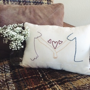 hand embroidered pillow _ darling pillow _ Chasing Lilac Hand Embroidery
