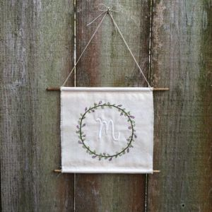 laurel monogram _ hanging hand embroidery _ Chasing Lilac Hand Embroidery