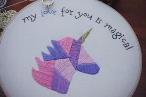 magical love unicorn _ hand embroidery _ Chasing Lilac Hand Embroidery