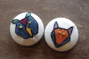 owl and fox _ geometric owl and geometric fox _ hand embroidery _ Chasing Lilac Hand Embroidery