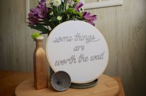 worth the wait _ nursery decor _ hand embroidery _ Chasing Lilac Hand Embroidery